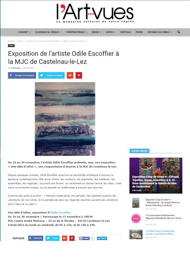 Exposition de l'artiste Odile Escoffier à la MJC de Castelnau-le-Lez